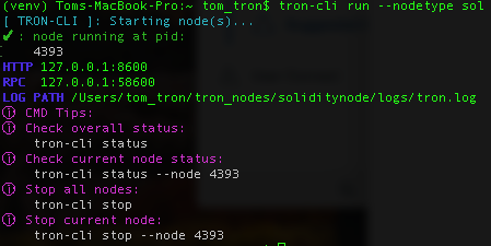 Running TRON-CLI Solidity Node