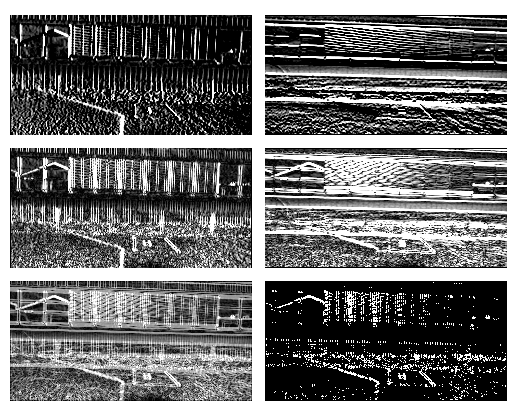 Figure 5. Steps for creating the edge mask. The top row shows the Scharr images in X and Y dimension. The second row applies the absolute function to the values from the top row. The last row shows left the added images from the middle row. On the right, it shows the final mask with the applied binary threshold function.