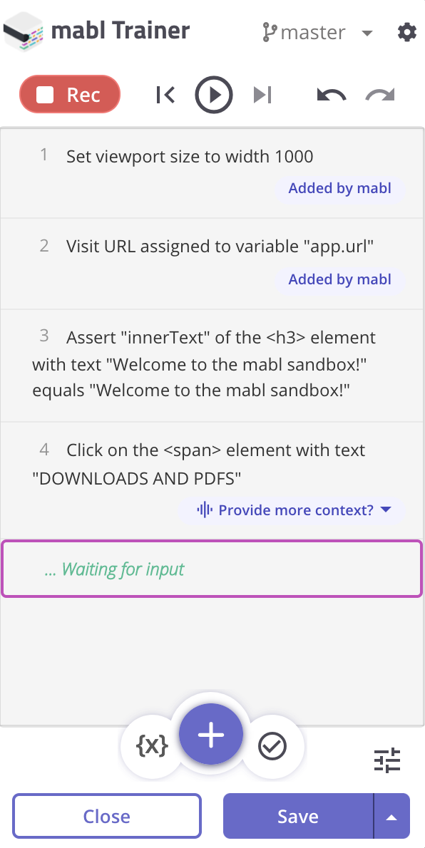 Example of a test