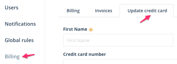 Step 1: Navigate to the Update credit card section under Settings