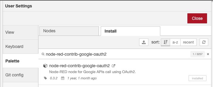 Installing OAuth2 node in Node-RED