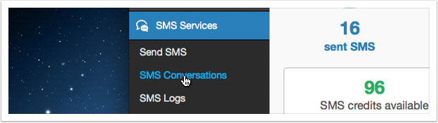 Select SMS Conversations from either the SMS overview or from the left hand menu