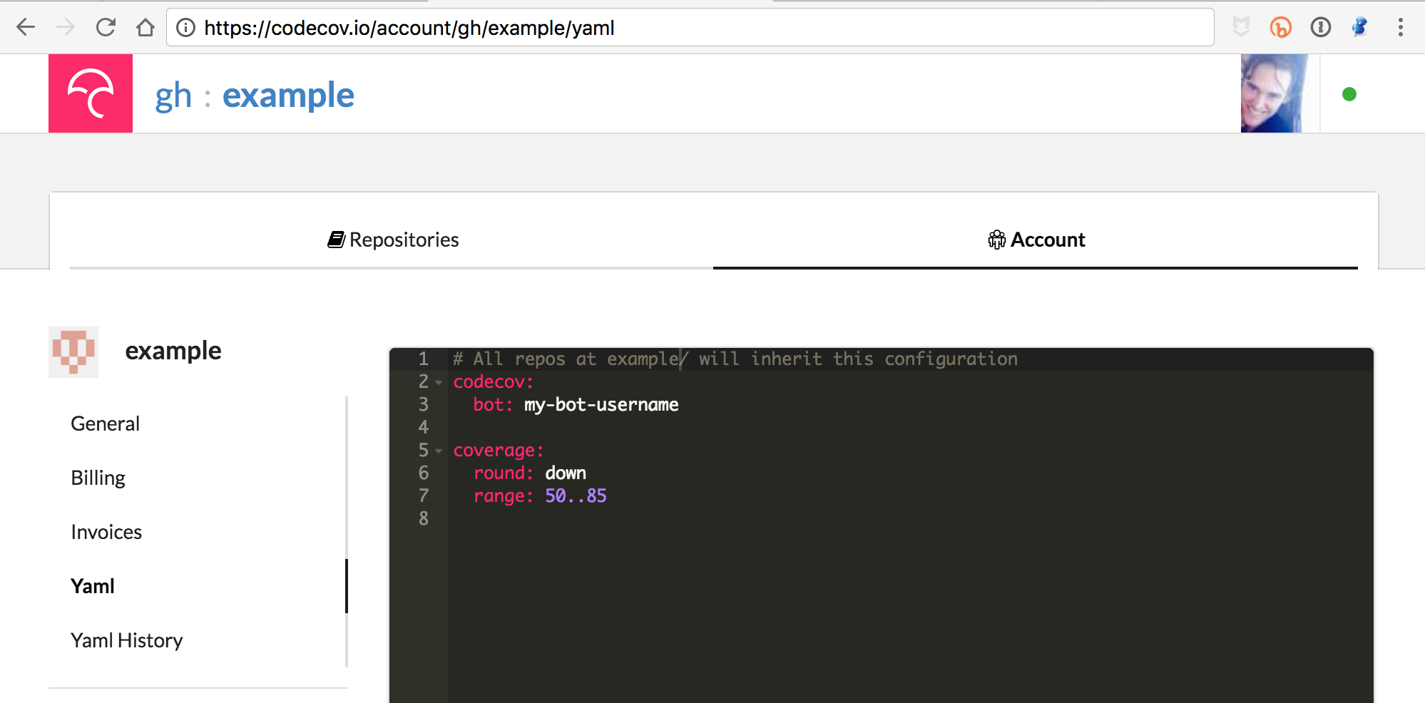 The team yaml (seen in the black box above) can be found in your account center. `/account/gh/OWNER/yaml`