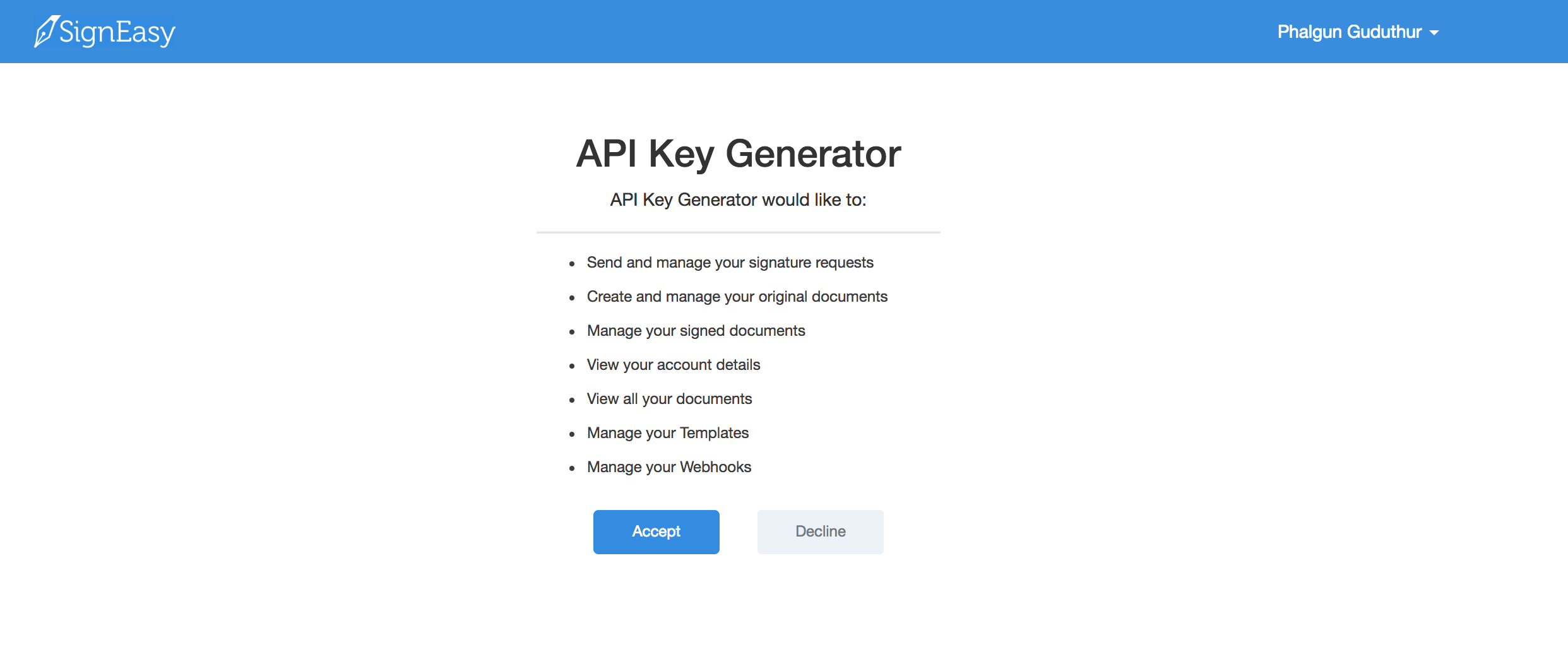 Permissions screen for generating API keys