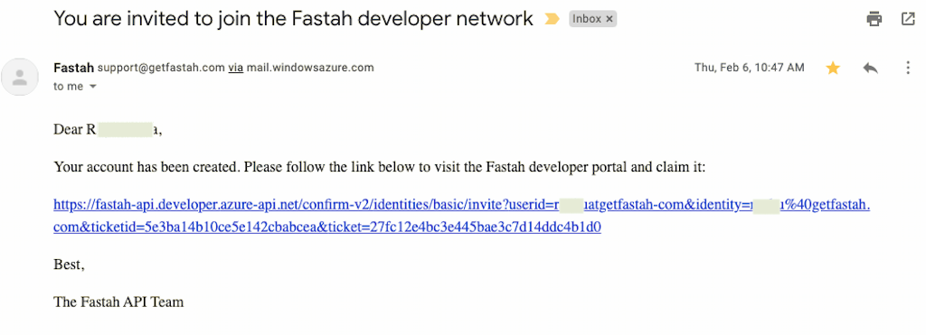 A password (re)set email for the Fastah Developer Portal