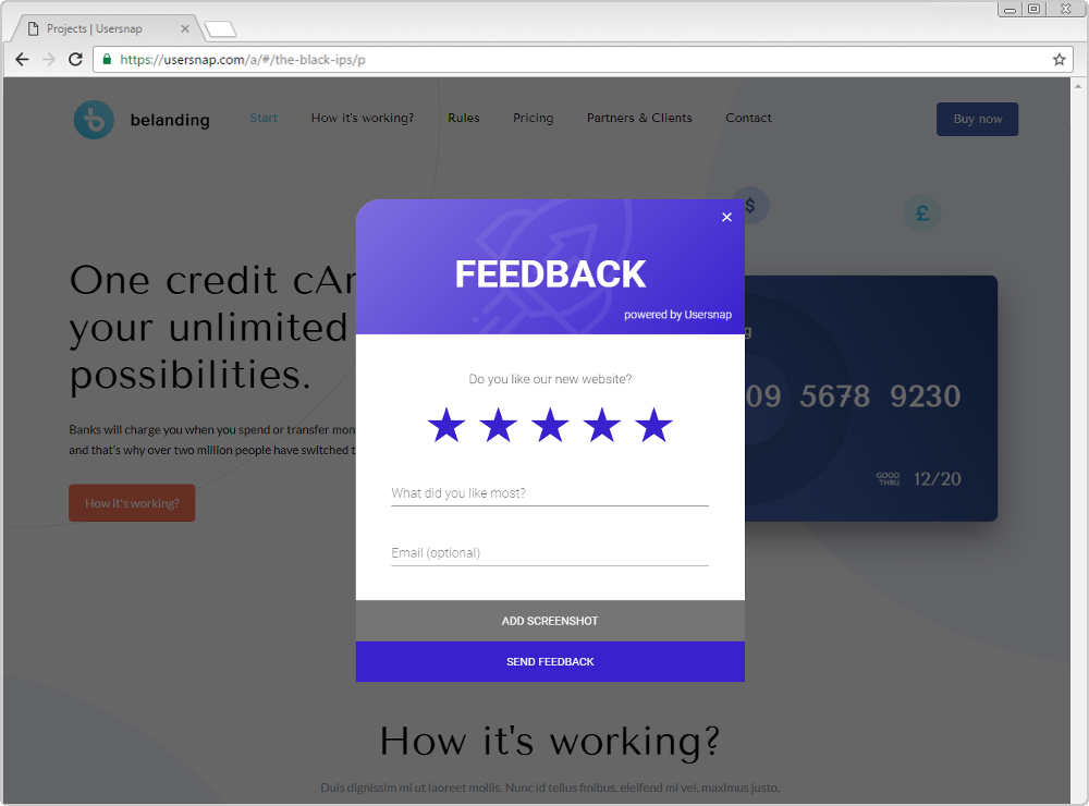 Usersnap Customer Feedback Widget