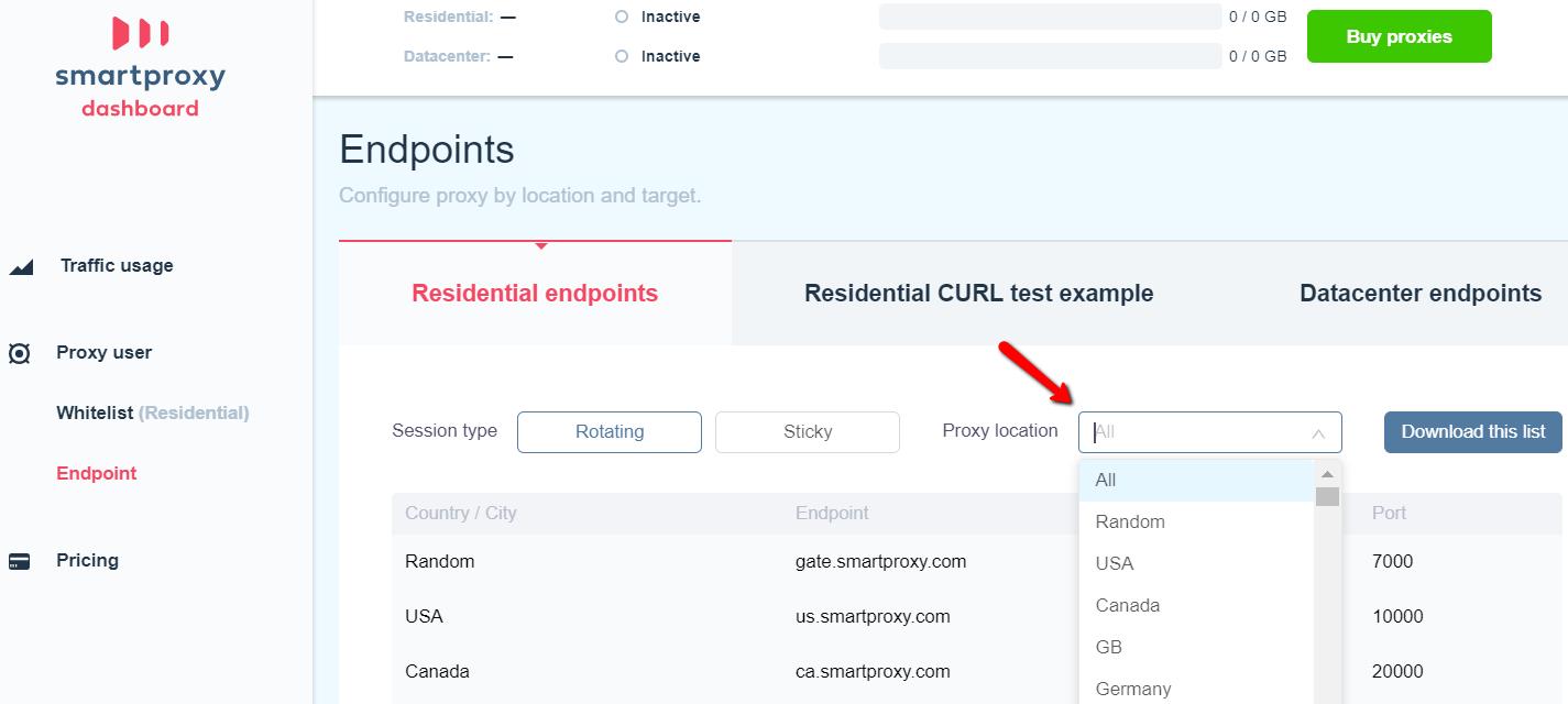 Smartproxy Dashboard - proxy location