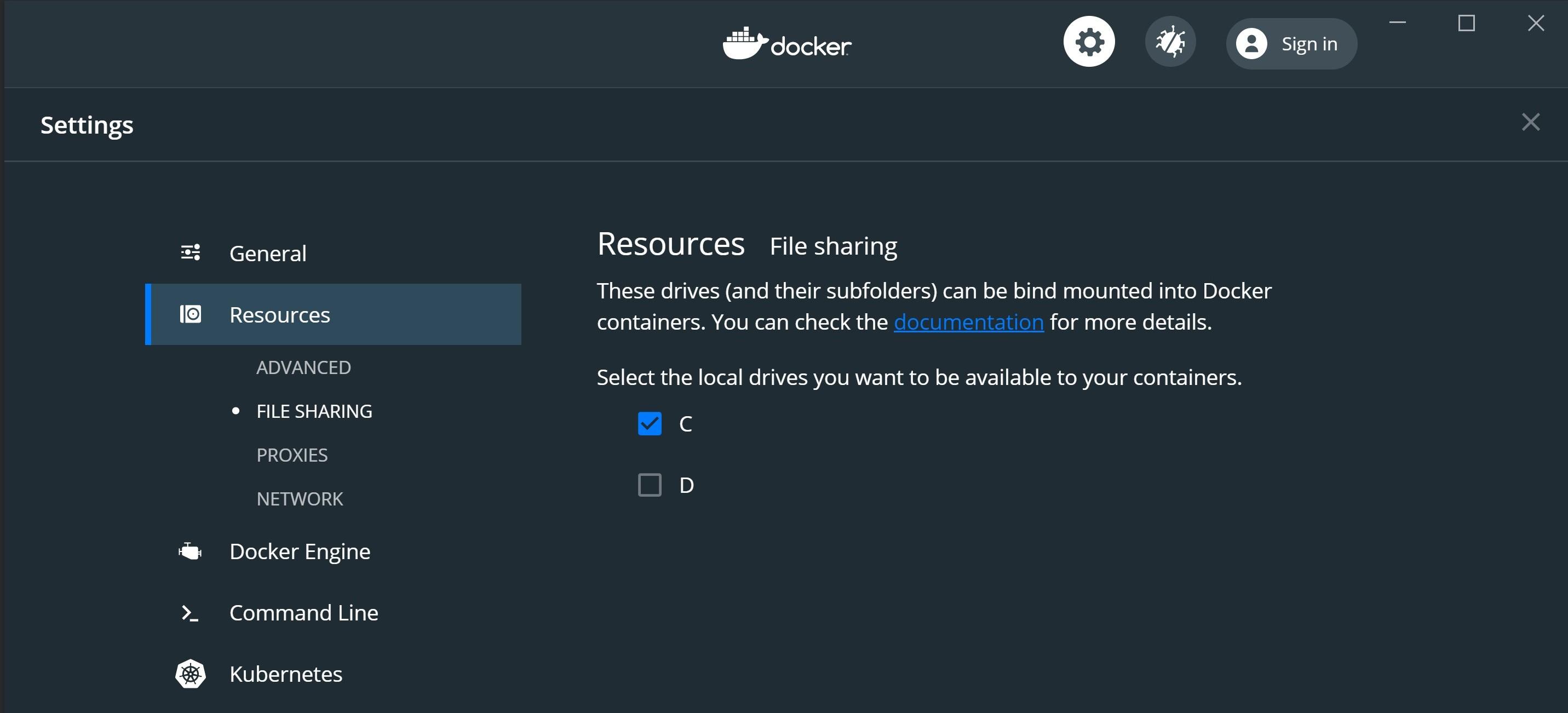 Docker file sharing settings screenshot