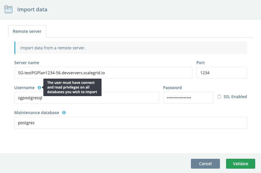 Import data popup for PostgreSQL