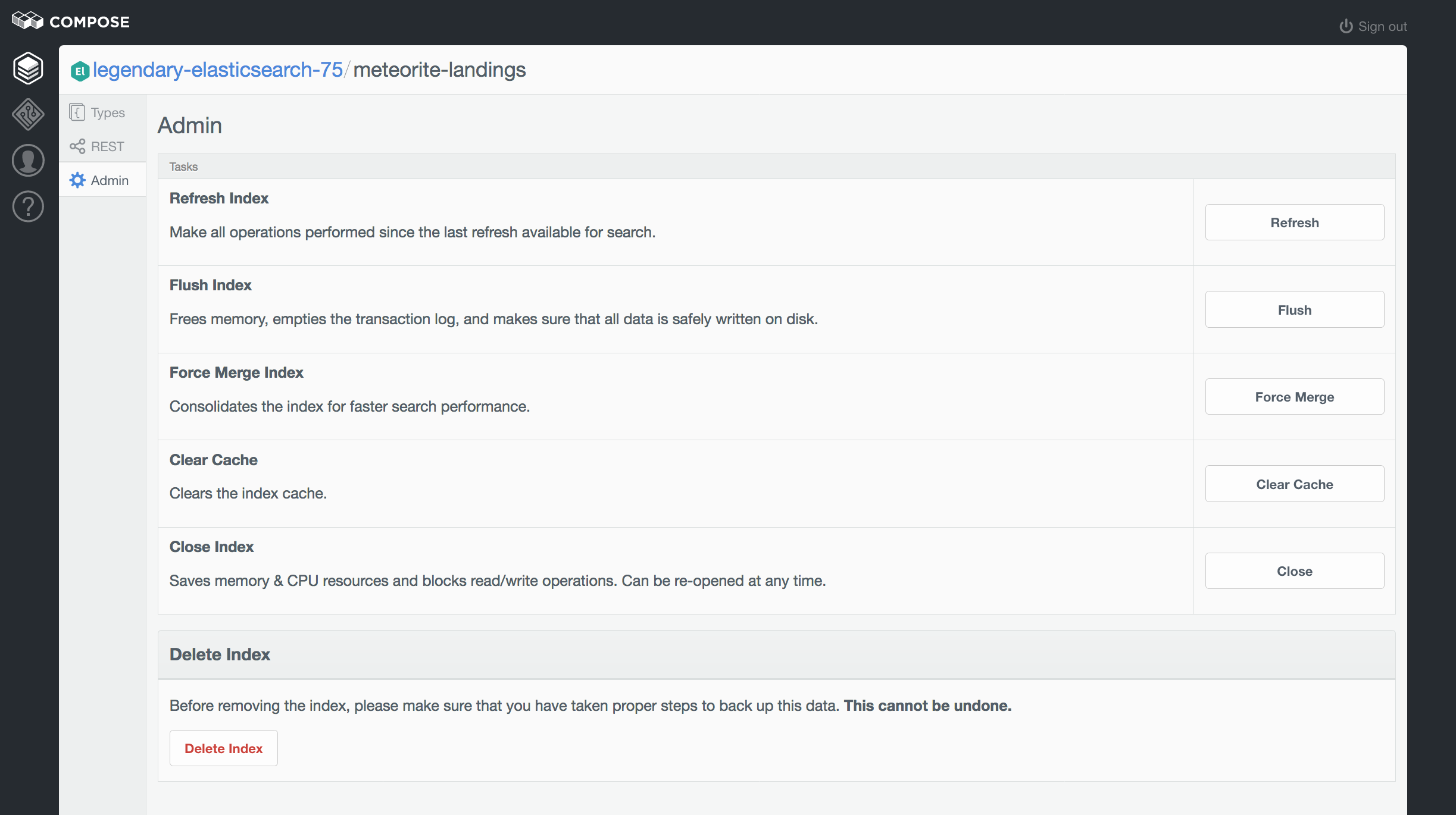 An index's admin panel in the browser.