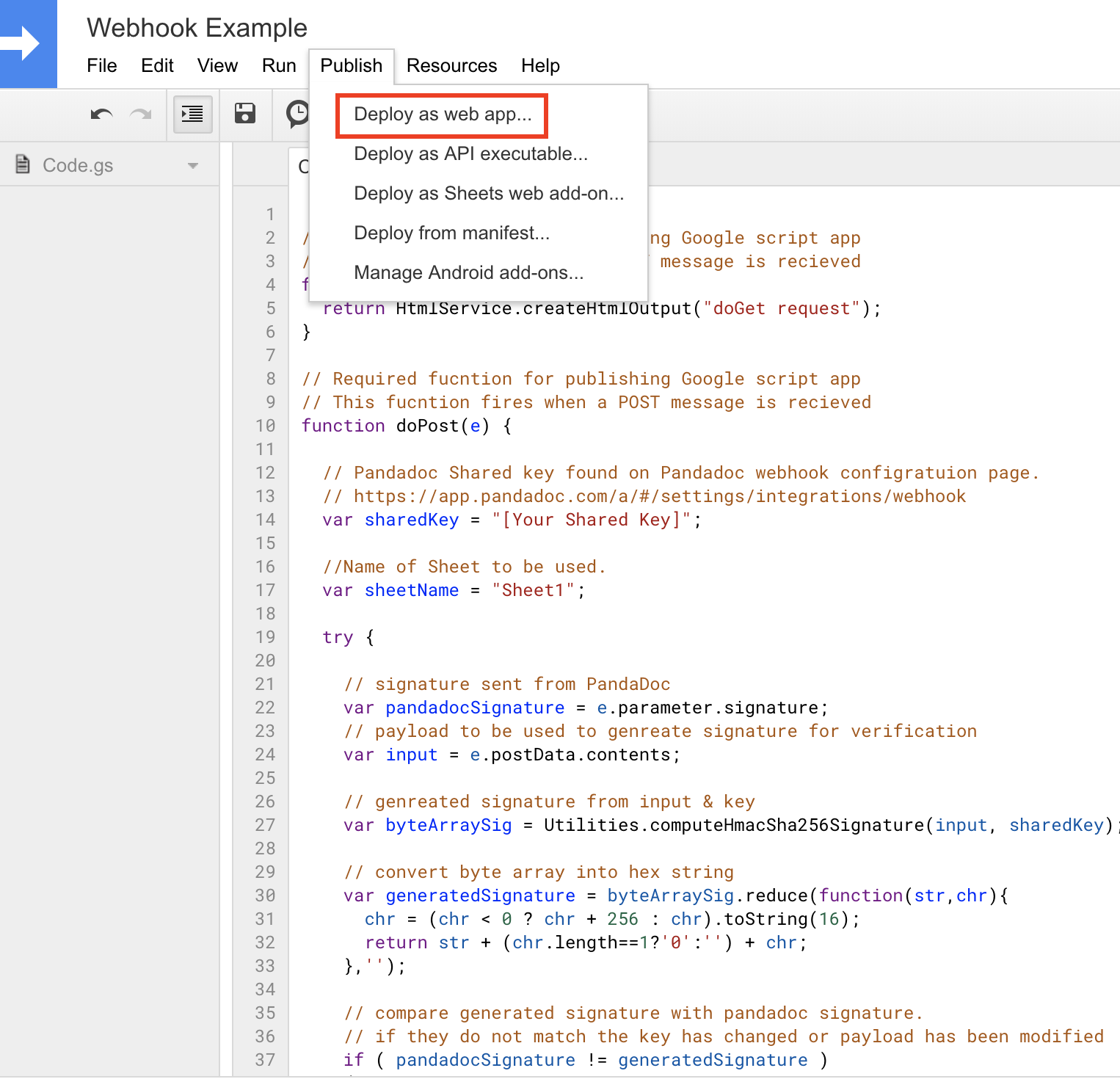 Catch webhook with Google Sheet