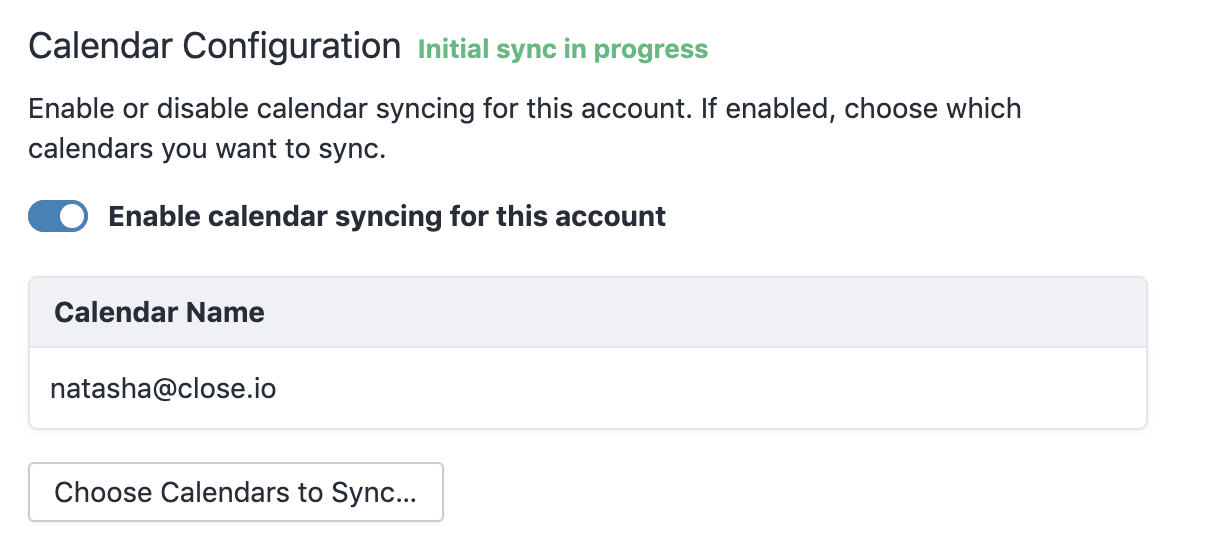 Enable Calendar syncing - Existing Account