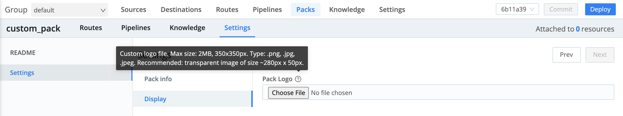 Editing Pack's display (logo) settings