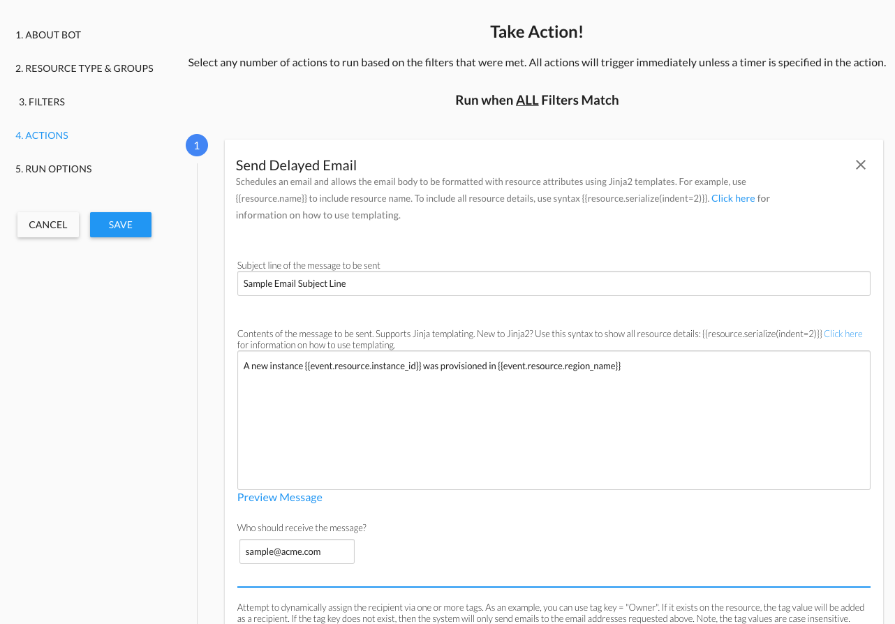 Sample Bot Actions