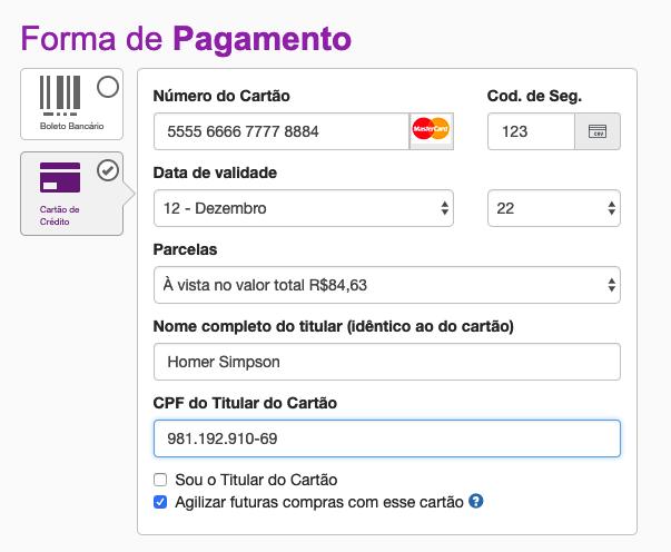 Dados do holder (portador do cartão)