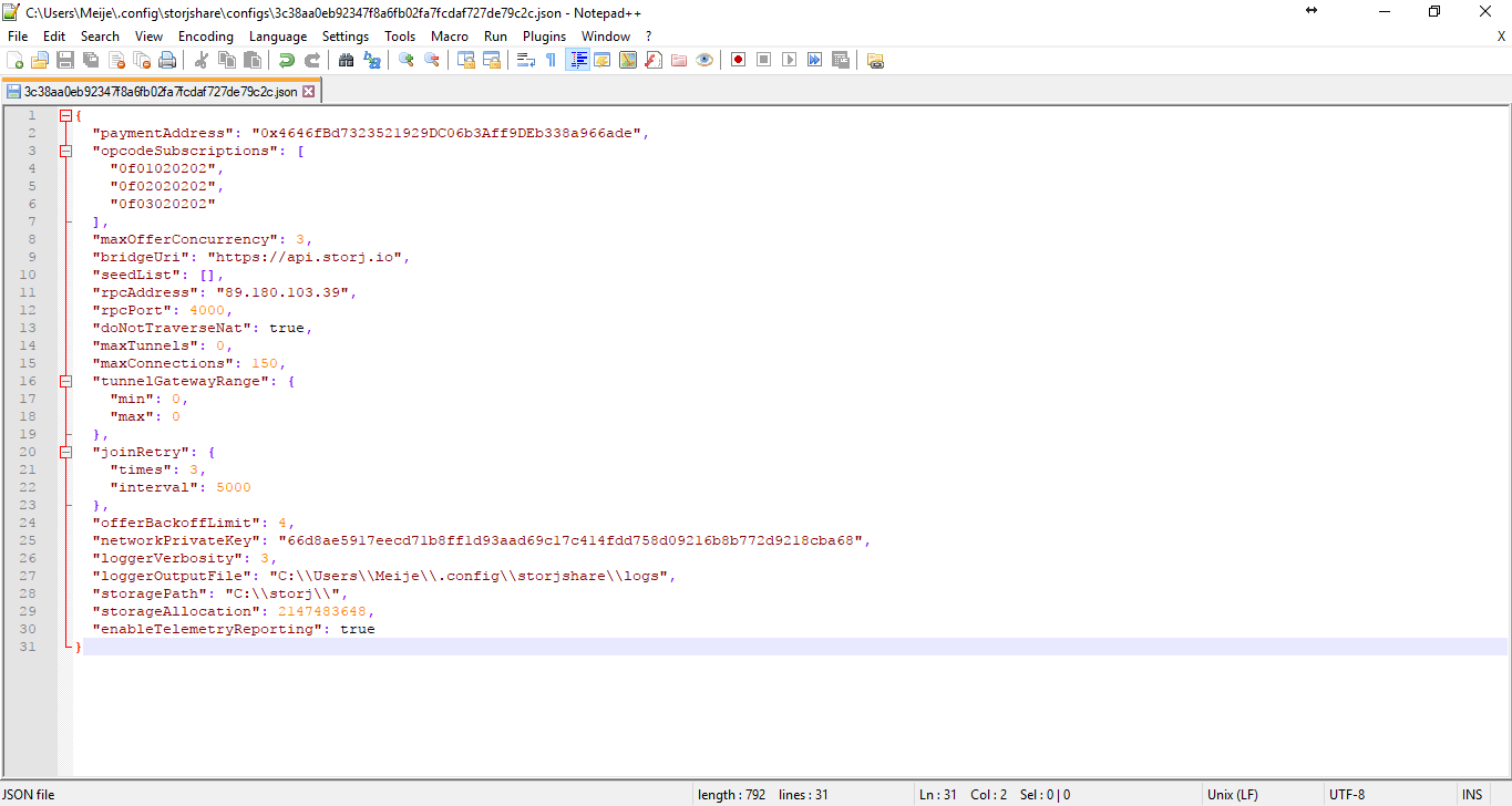*Figure 3.18. Config.json file opened in Notepad++.*