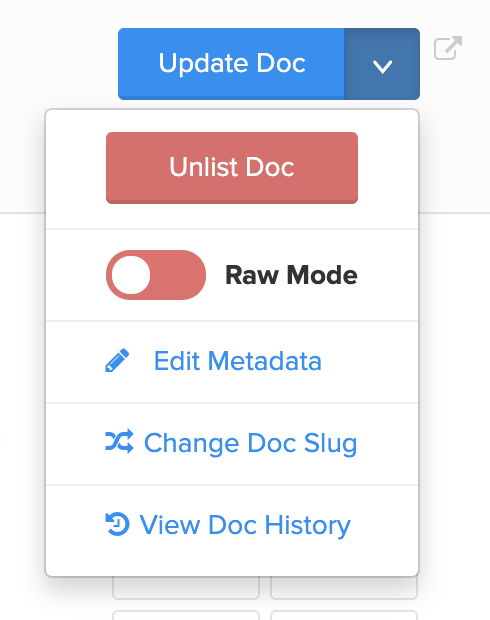 """Access the """"Edit Metadata"""" modal by clicking on the down-chevron icon"""