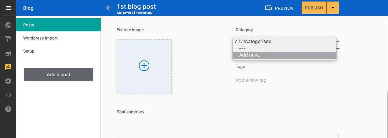 Add new blog category