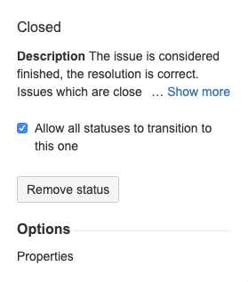 Example: Editing the **Closed** status
