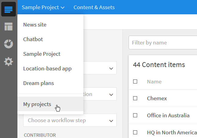 Open a list of your Kentico Cloud projects