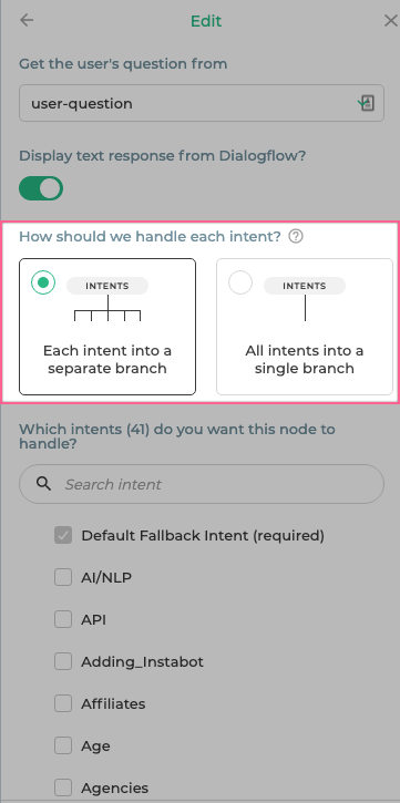 """""""*How to handle each intent?*"""" setting"""