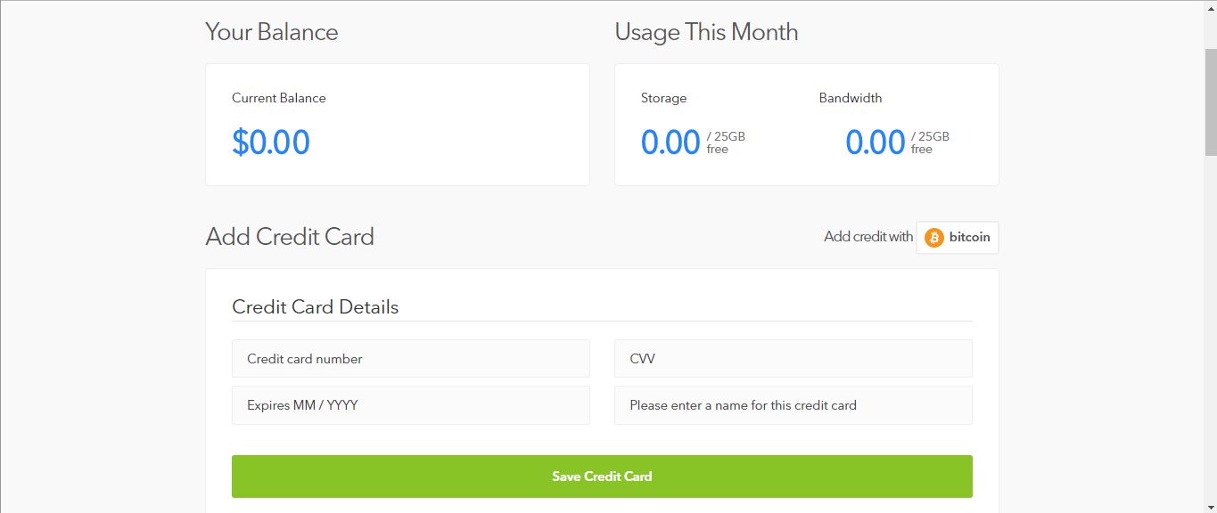 *Figure 3.4. Adding a payment option to 'Billing' allows you to upload and download beyond the free tier limit.*