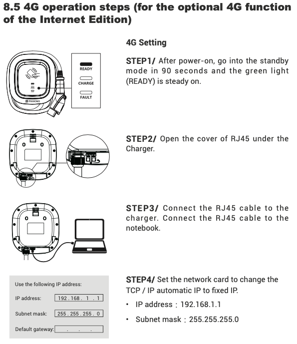 Setup process for connecting the hardware config utility via a local laptop (from the Phihong user manual)