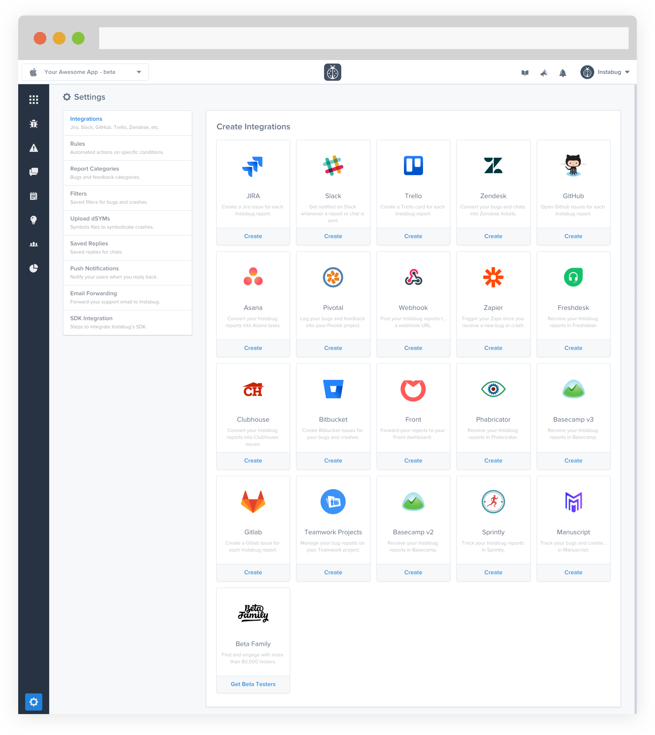 instabug zendesk integration: dashboard integration page