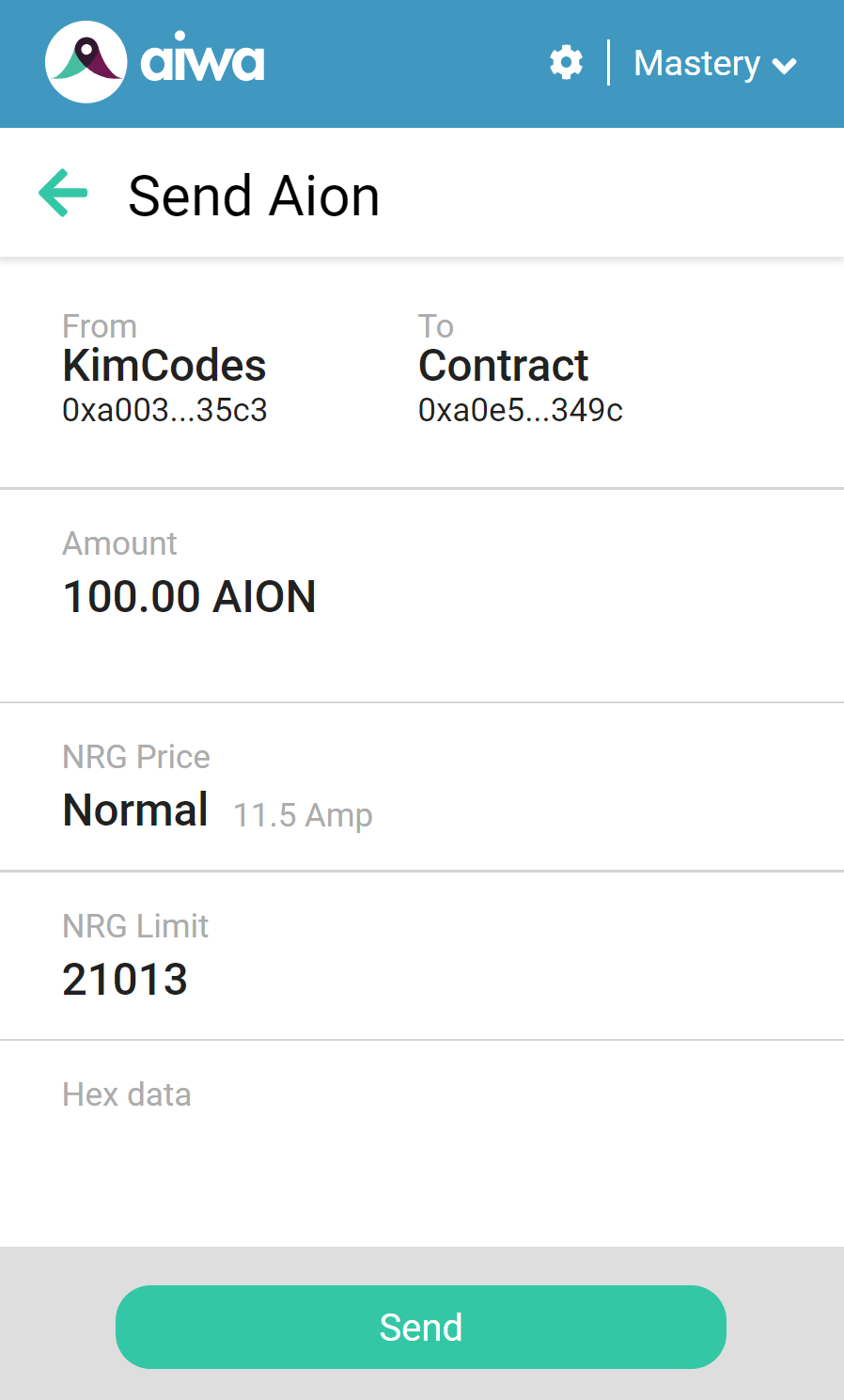 Sending 100 AION to Contract Address