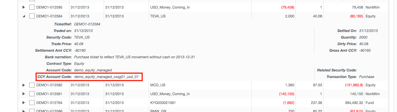 Screenshot from Canopy Engine showing fields that are input for a transaction