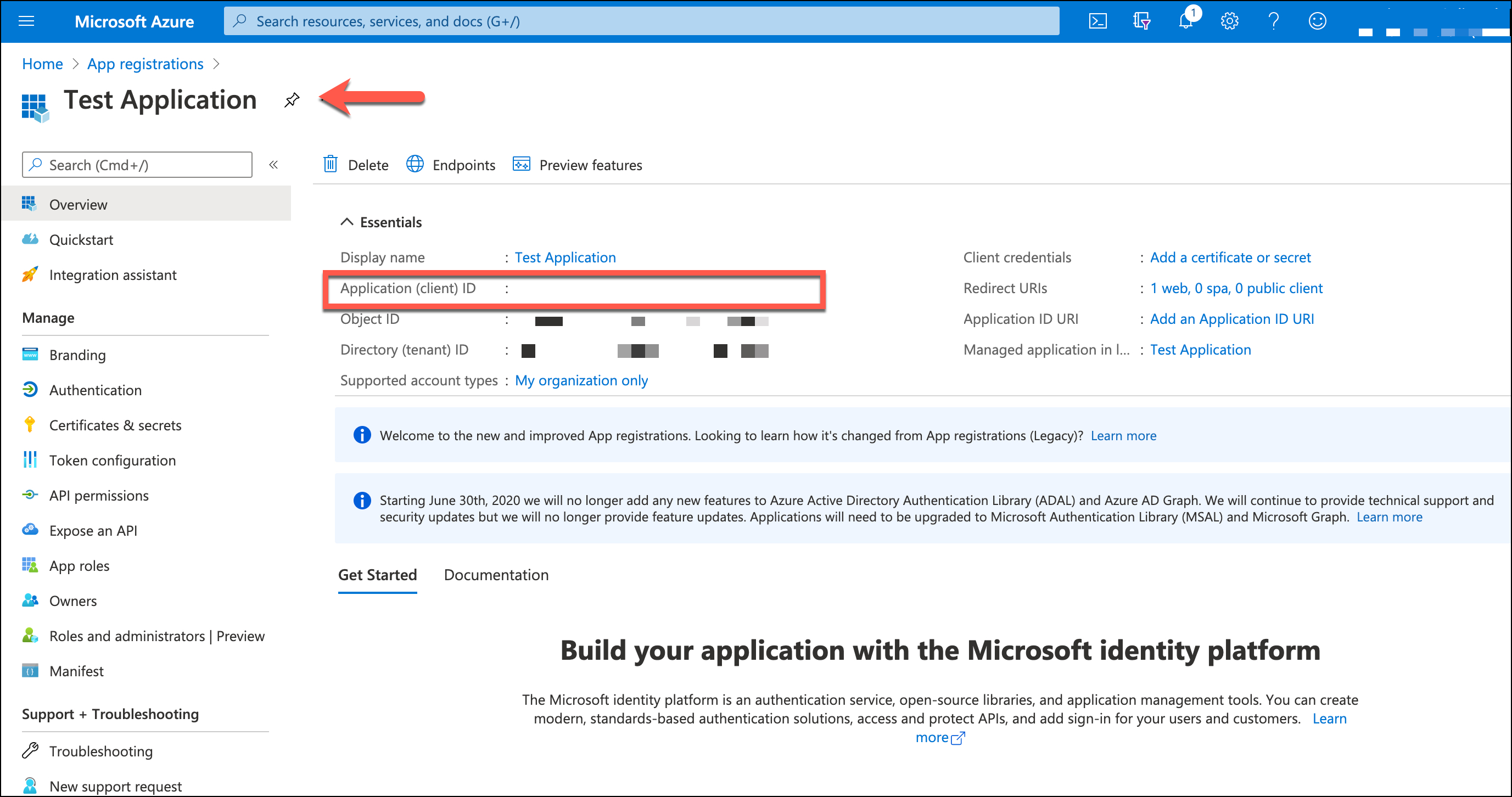 Azure Creating an Application - Application ID