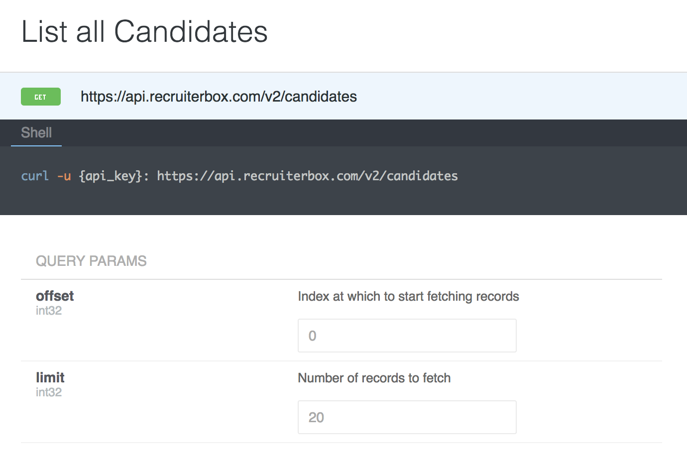 Paginating a list of candidates by fetching 20 items per page