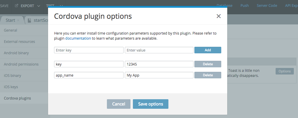 Custom Cordova plugin parameters.
