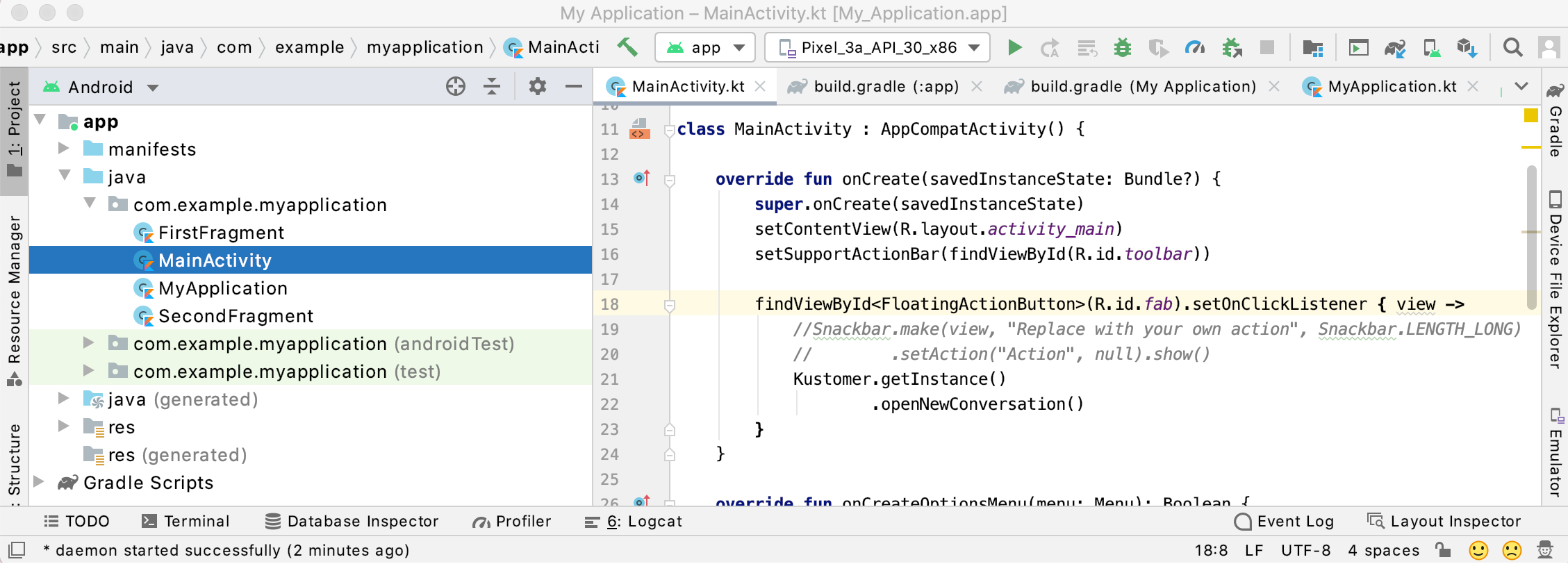 Launch the Kustomer Chat SDK and open an new conversation in your `MainActivity.kt` file.