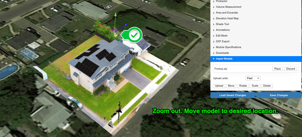 Zoom out if you do not see the model right away. Move the model to the desired location.