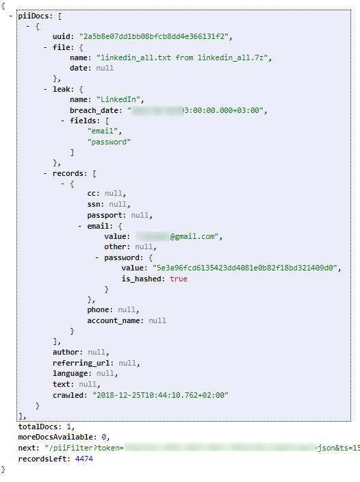 PII Leaks - Result example