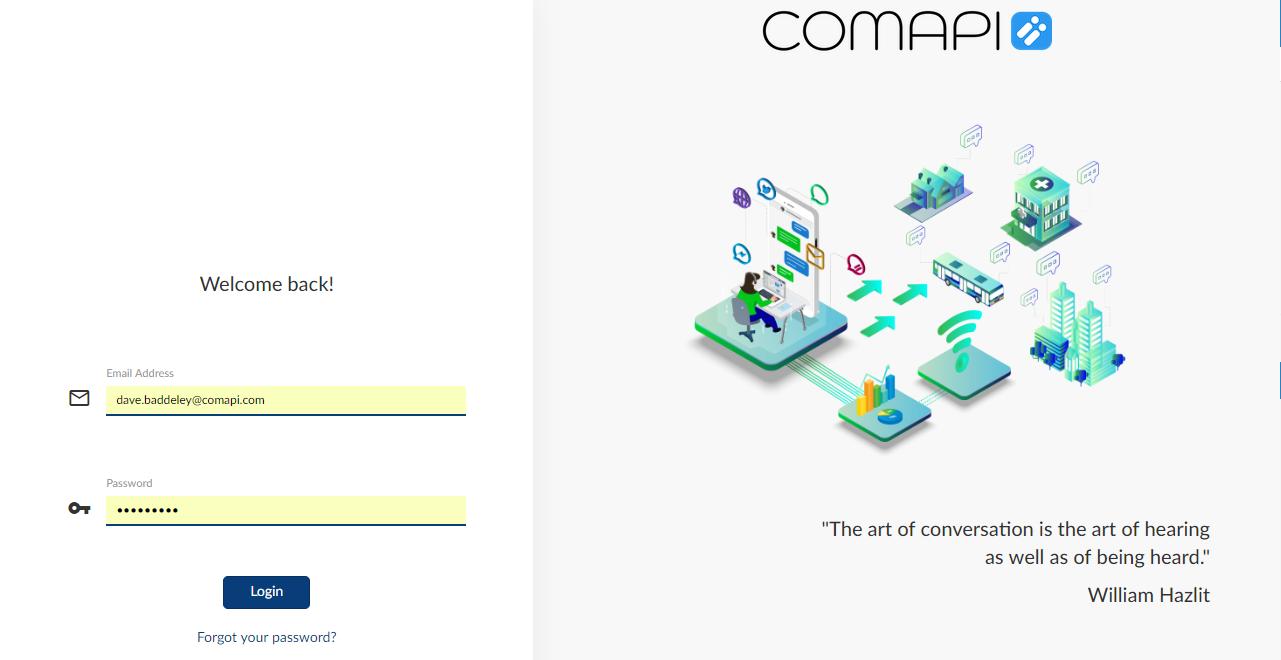 Comapi Portal login