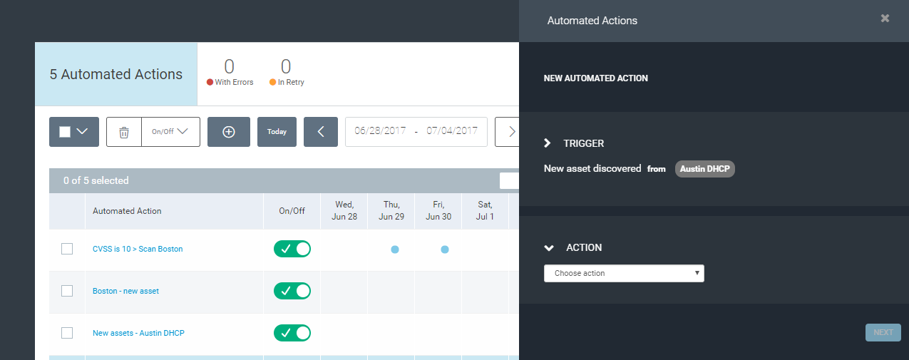 Automating security actions in changing environments