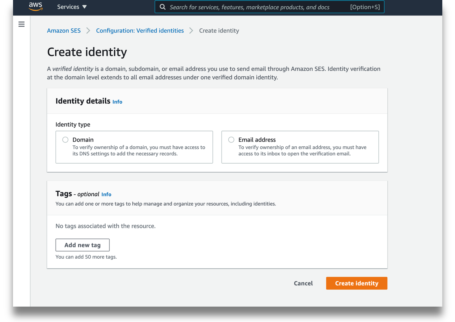 AWS SES create identify page