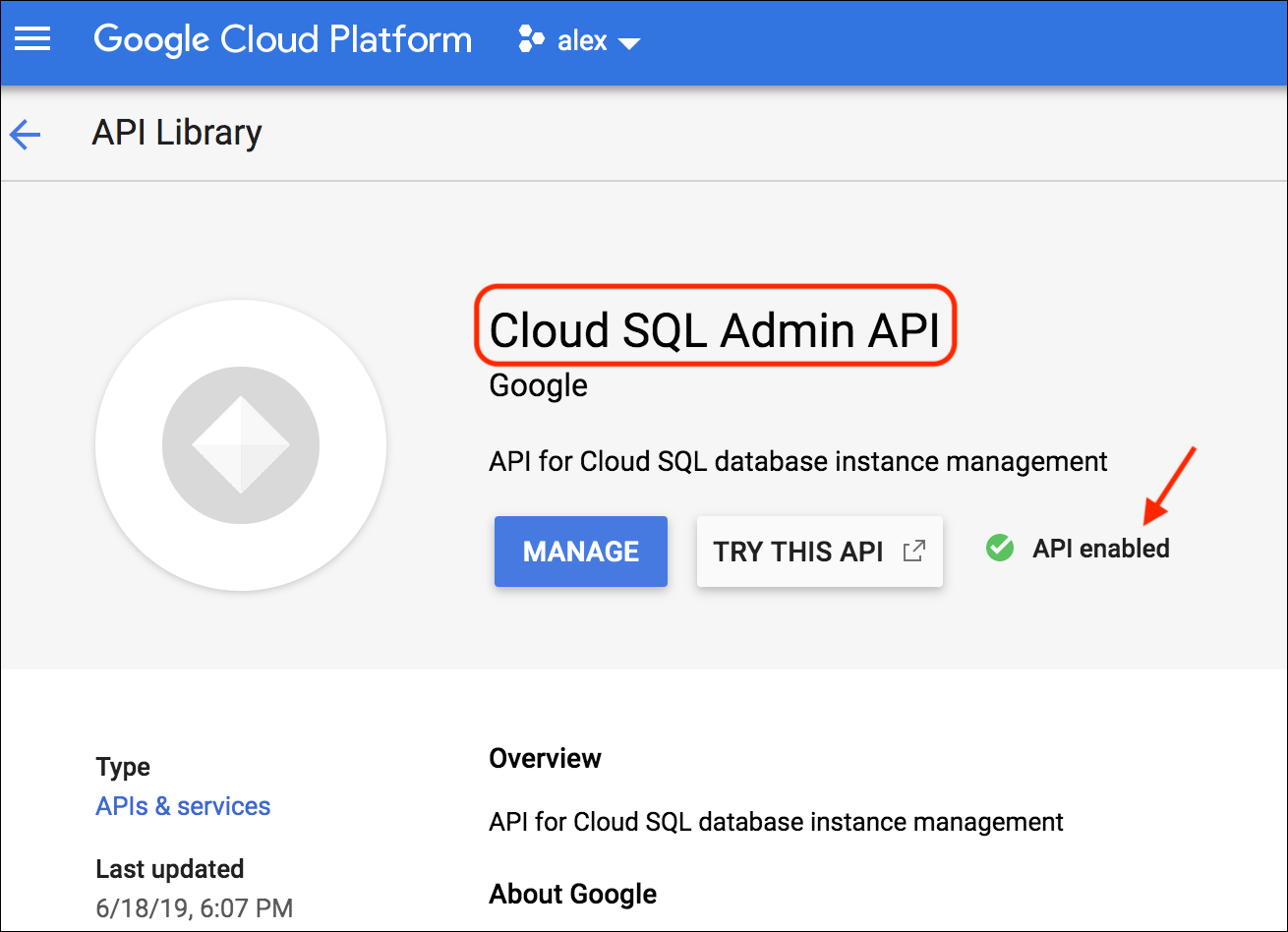 Cloud SQL Admin API (API Enabled)