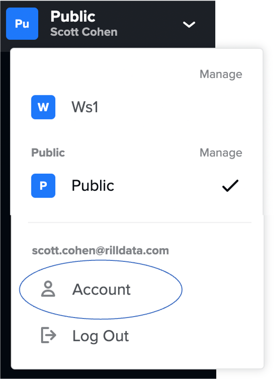 Select Account to open the account options