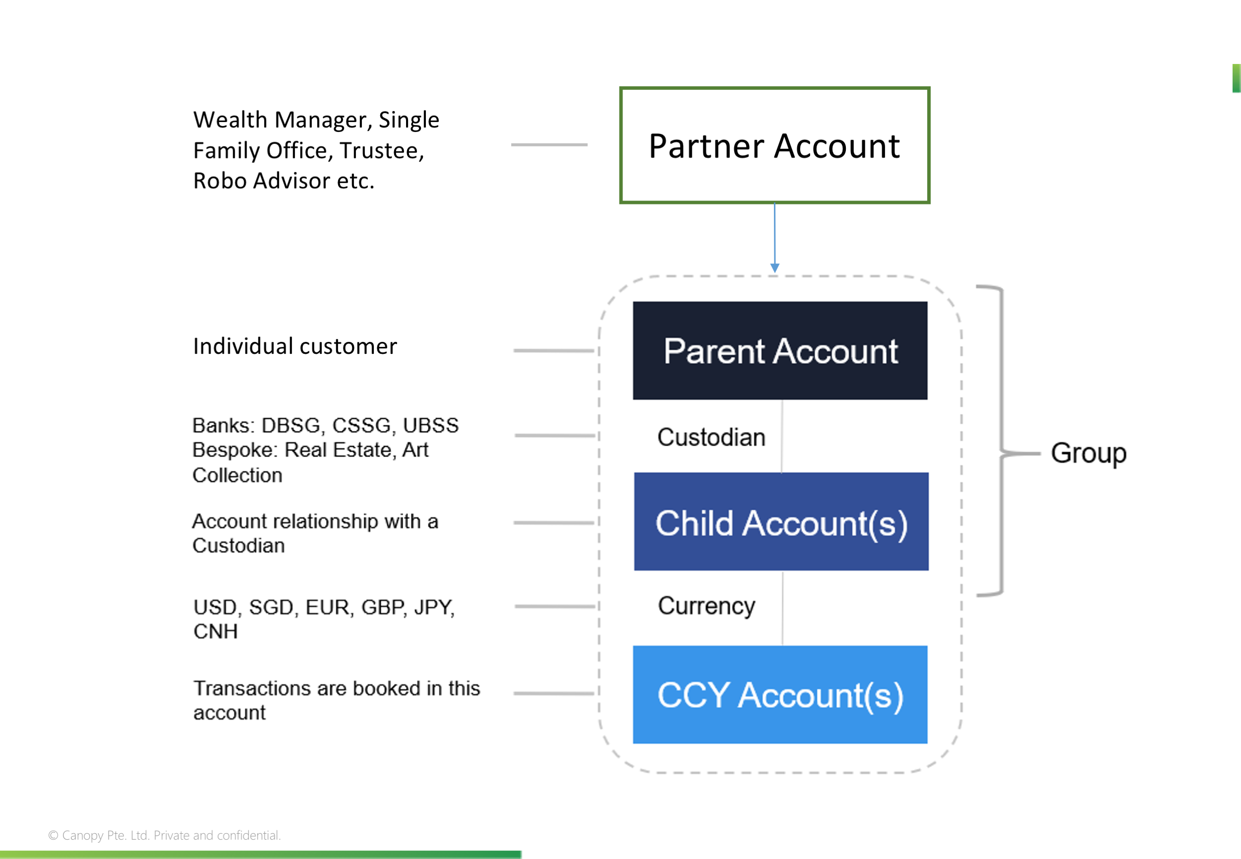 Canopy Account Structure. A Parent Account may or may not belong to a Partner, but will always have Child Accounts.
