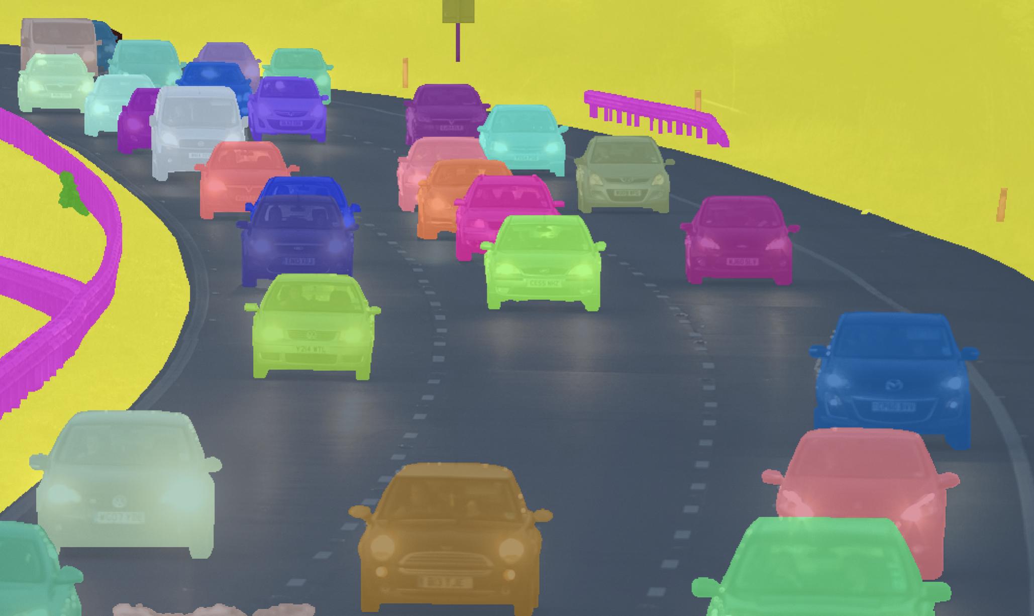 Semantic Instance Segmented street scene