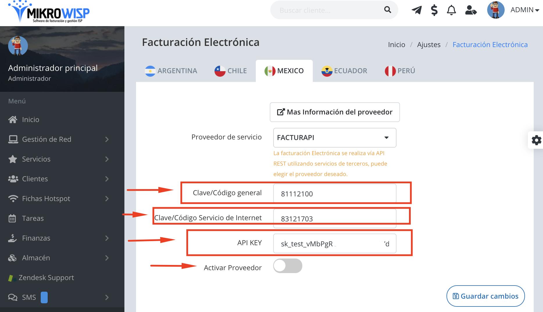 Para configurar la facturación electrónica debemos ingresar al Menu Ajustes--->Facturación electrónica.