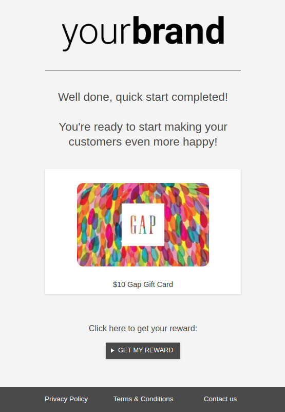 Example of customized email sent to your end-users