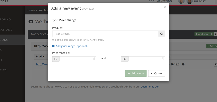 Alternatively, you may use the dashboard if the number of events you have registered is minimal