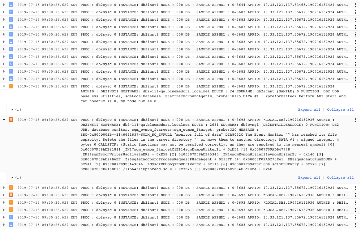 IBM DB2 Logs Example
