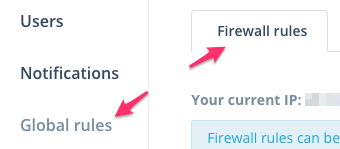 Step 1: Navigate to the Firewall rules section under Settings