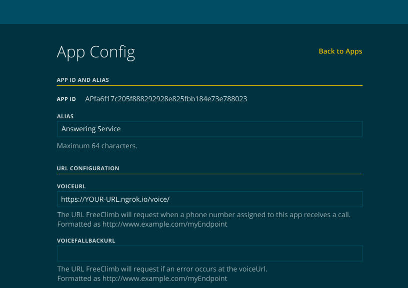 Example of a completed app config