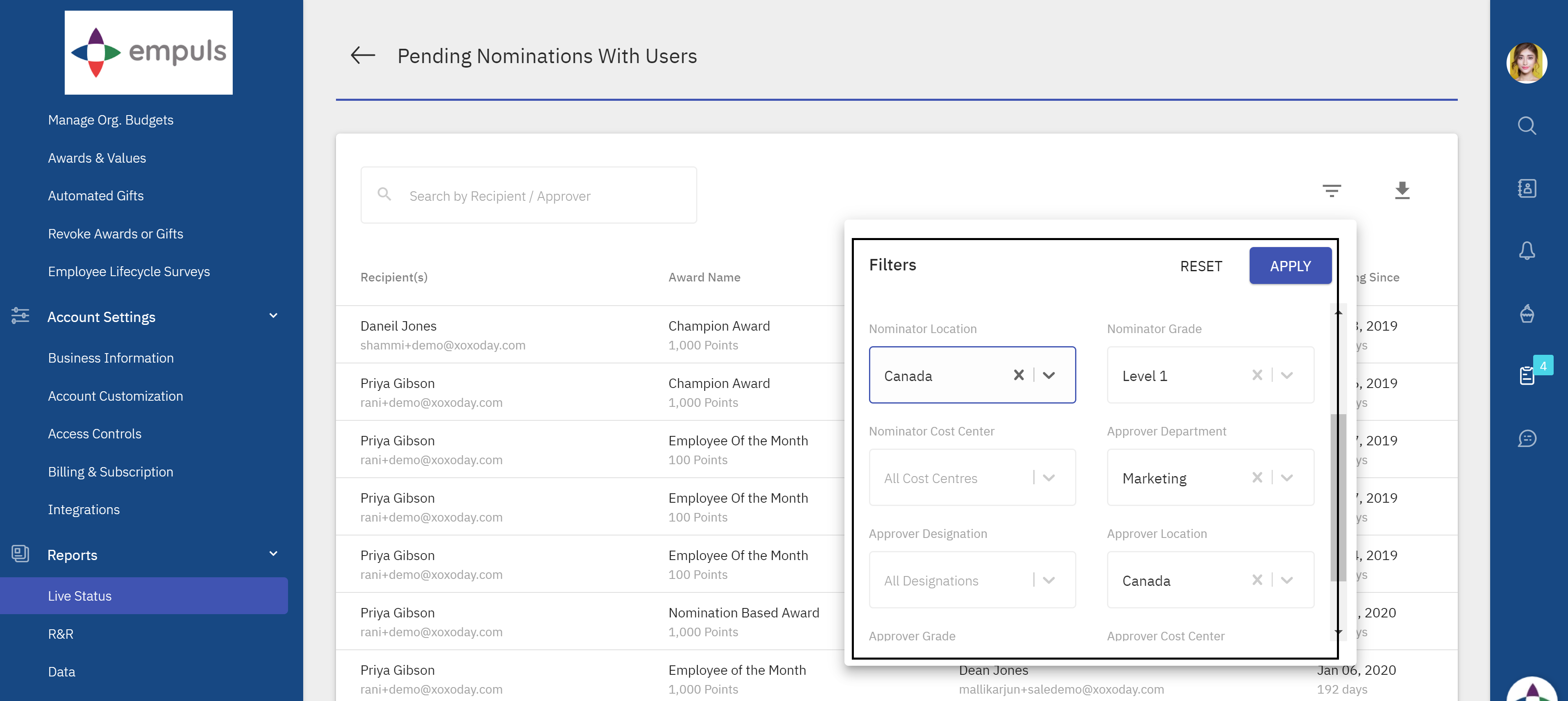Pending Nominations - Filters